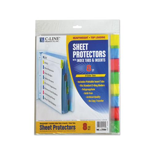 "Sheet Protectors With Index Tabs, Assorted Color Tabs, 2"", 11 X 8 1-2, 8-st"