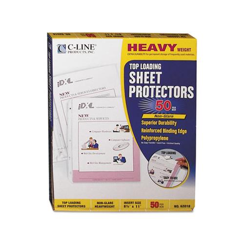 "Heavyweight Polypropylene Sheet Protectors, Non-glare, 2"", 11 X 8 1-2, 50-bx"