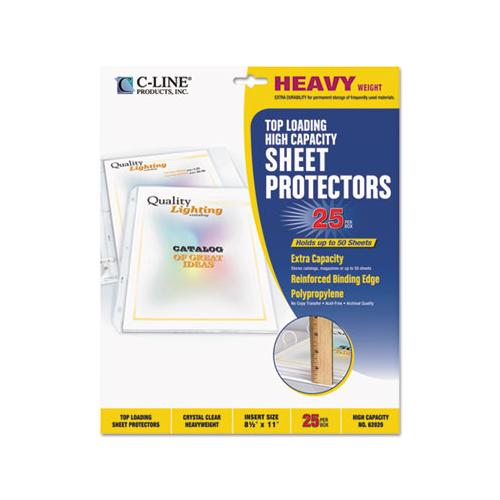 "High Capacity Polypropylene Sheet Protectors, Clear, 50"", 11 X 8 1-2, 25-bx"