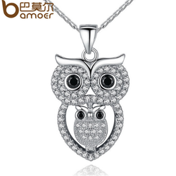 BAMOER Vintage Owl Pendant Necklace with AAA Austrian Zircon White Gold