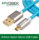 4.0mm Nylon Micro USB Cable for Samsung HTC Huawei Android