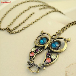 Luck Dog Lady Crystal Blue Eyed Owl Long Chain Pendant Sweater Coat Necklace