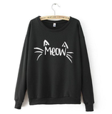 Charm Women Long Sleeve MEOW Print Tops Jacket Coat Cozy Sweatshirts
