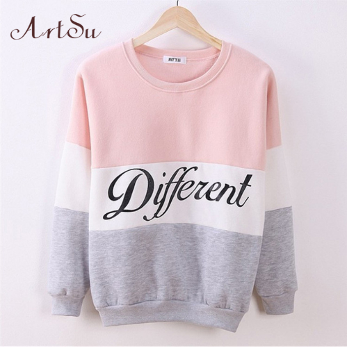 2017 Autumn and winter women fleeve hoodies printed letters Different women's casual sweatshirt hoody sudaderas