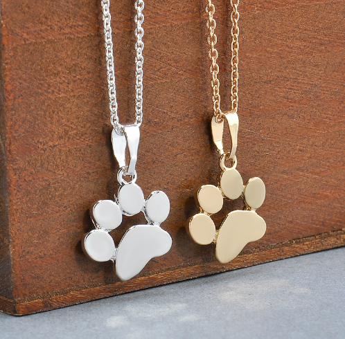 Fashion Cute Pets Dogs Footprints Paw Chain Pendant