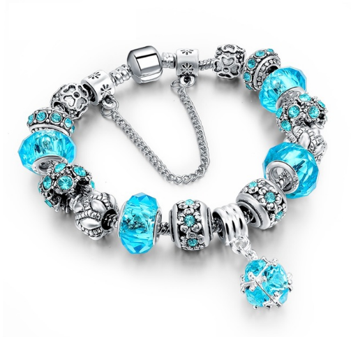 LongWay European Style Authentic Tibetan Silver Blue Crystal Charm Bracelet for Women Original