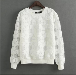 New 2017 Round Neck Hedging Sweatshirt Women Lace Hollow Out Female Hoodies