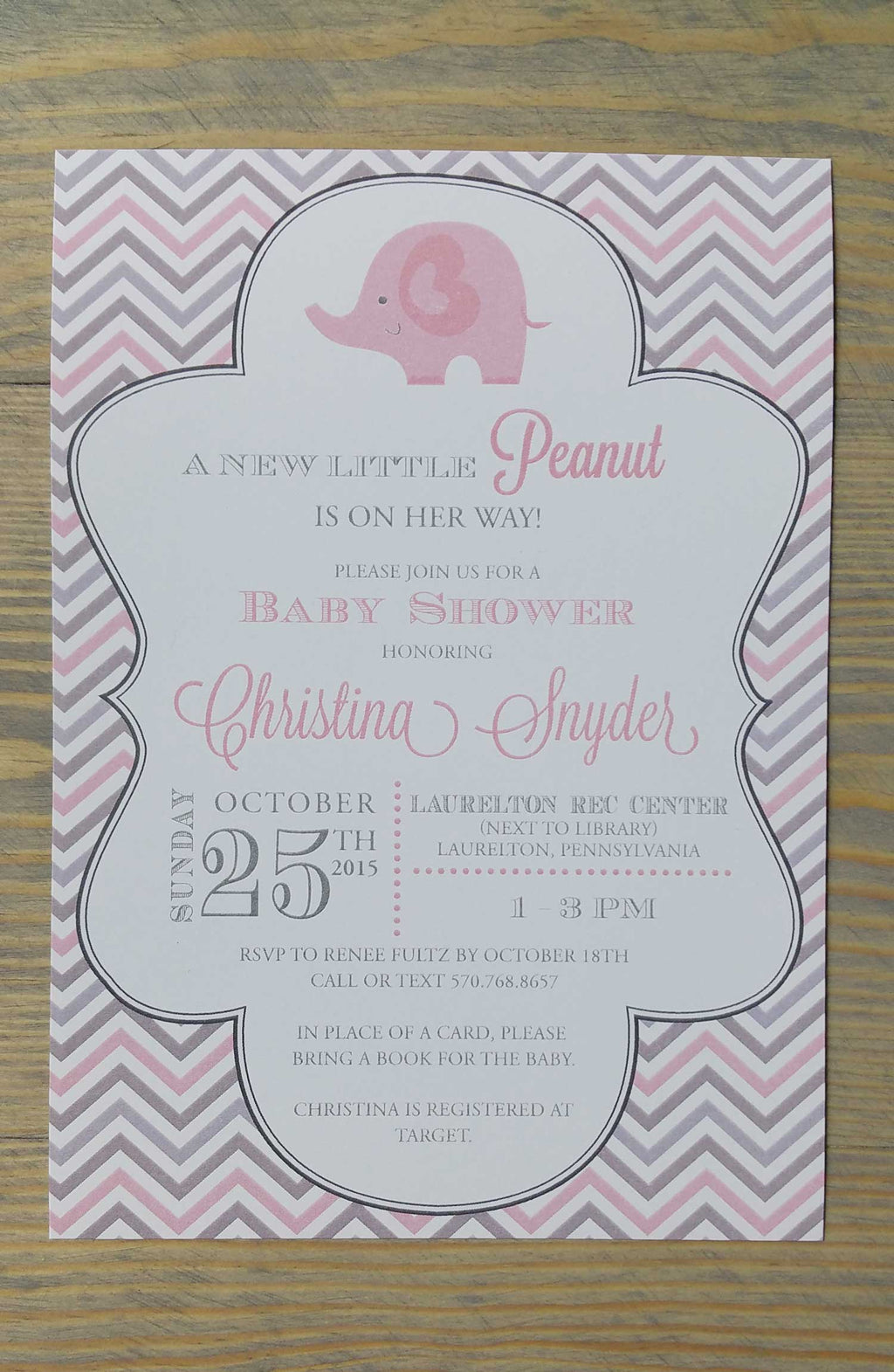 Pink and Grey Chevron Elephant Baby Shower Invitation