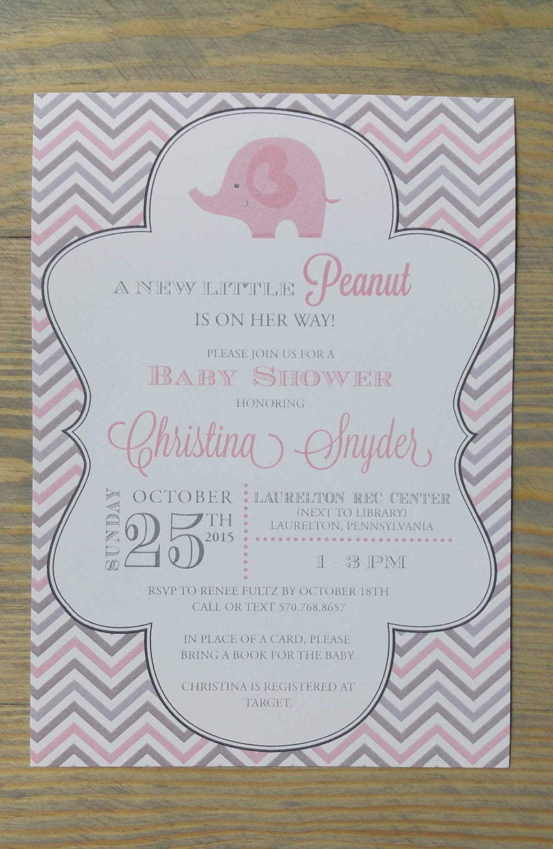 Pink And Grey Chevron Elephant Baby Shower Invitation Raspberry