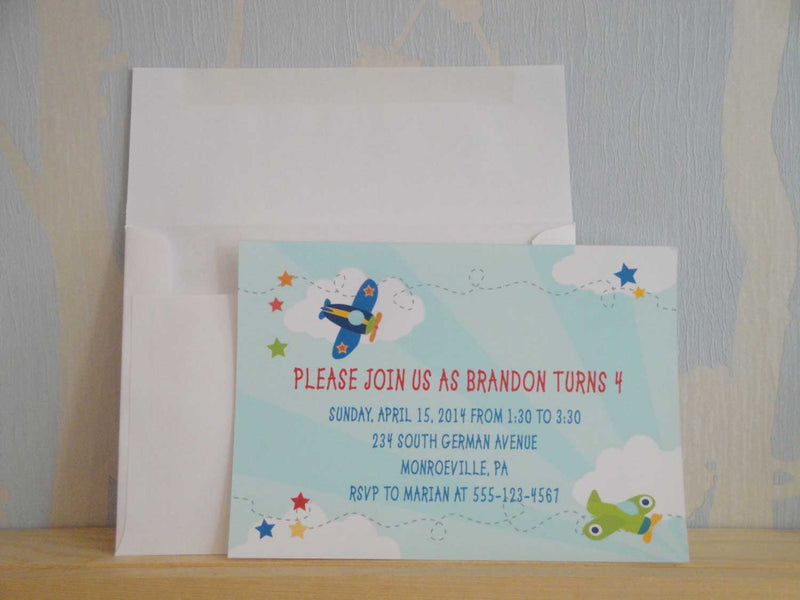 Airplane Theme Birthday Party Invitation