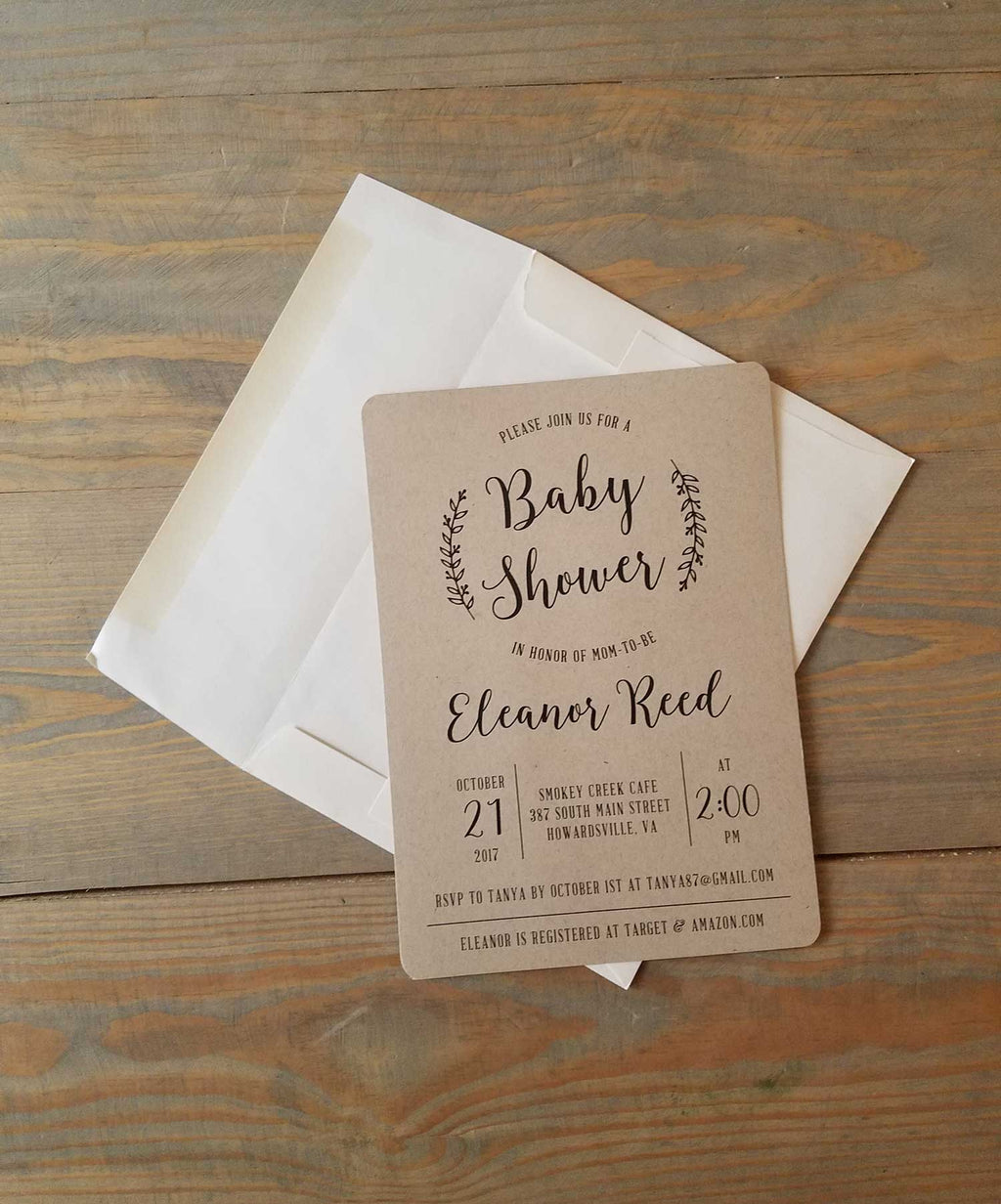Simple Kraft Rustic Baby Shower Invitation