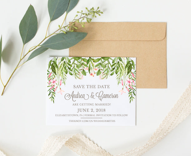 Cascading Greenery Save the Date Card