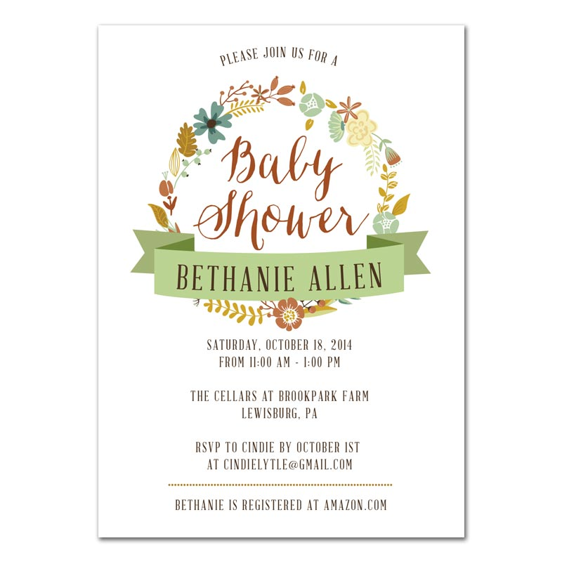 Fall Wreath Baby Shower Invitation