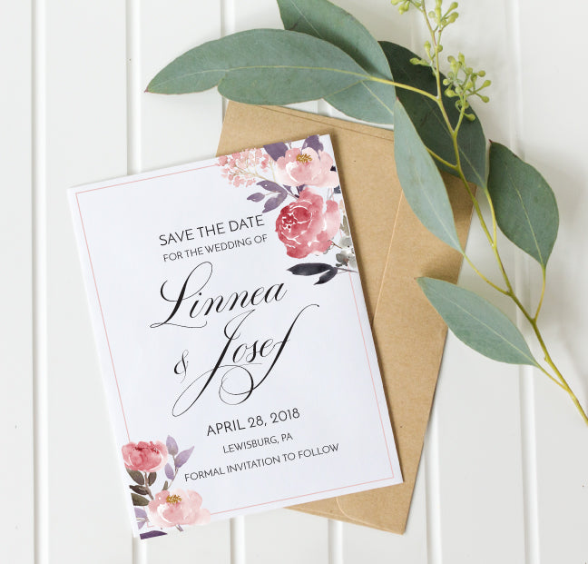 Elegant Dusty Rose Save the Date Card