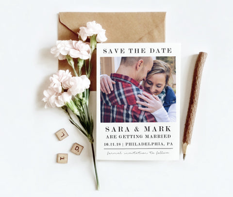 Simple Modern Photo Save the Date Card