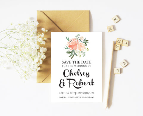 Peach Bouquet Save the Date Card