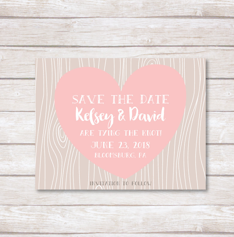 Wood Grain Heart Save the Date
