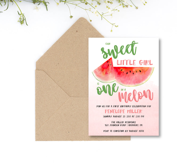 One in a Melon Birthday Party Invitation