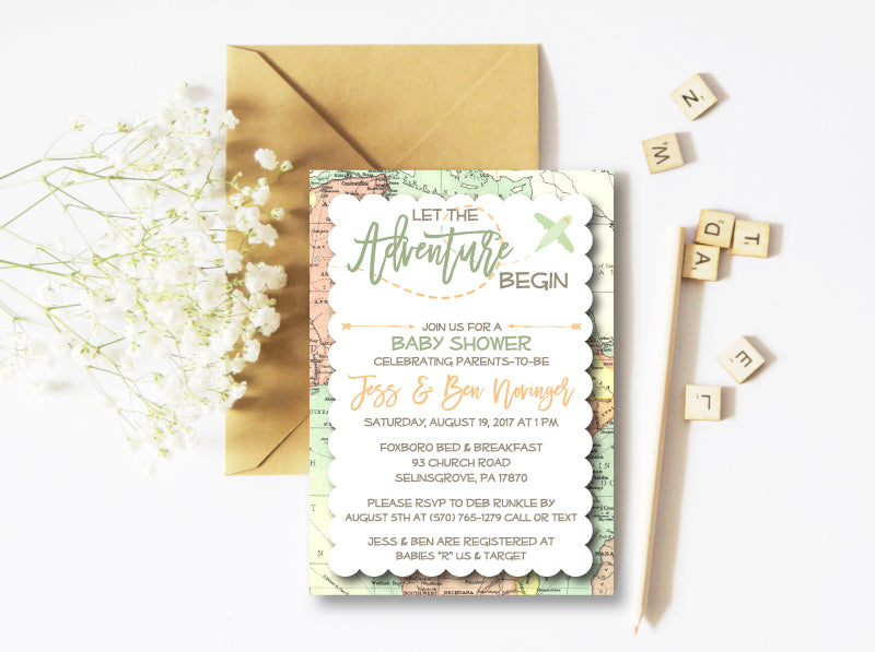 Airplane Adventure Begin Baby Shower Invitation