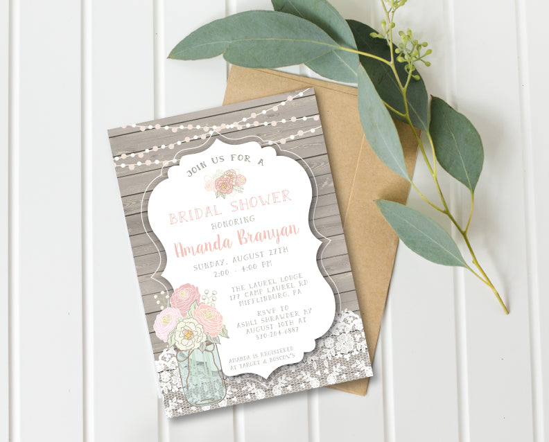 Pink & Mint Rustic Bridal Shower Invitation