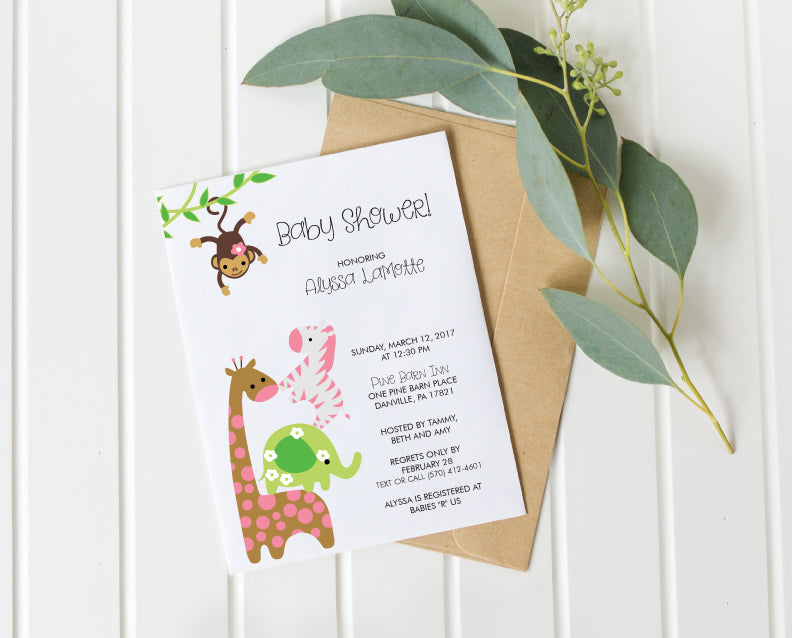 Jungle Animal Gender Neutral Baby Shower Invitation