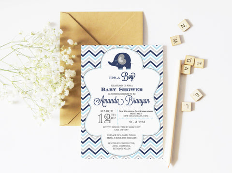 Blue Elephant and Chevron Baby Shower Invitation