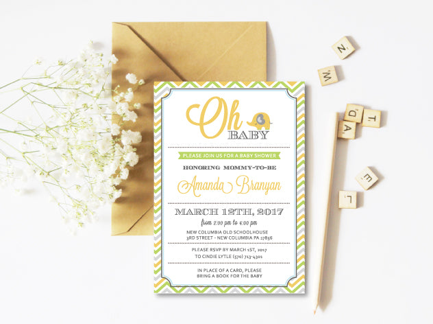 Oh Baby Gender Neutral Elephant Baby Shower Invitation