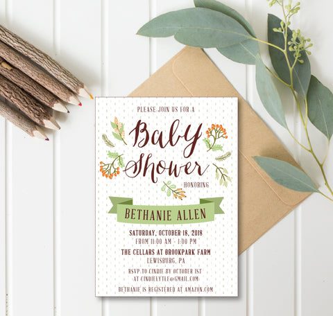 Fall Foliage Baby Shower Invitation Gender Neutral