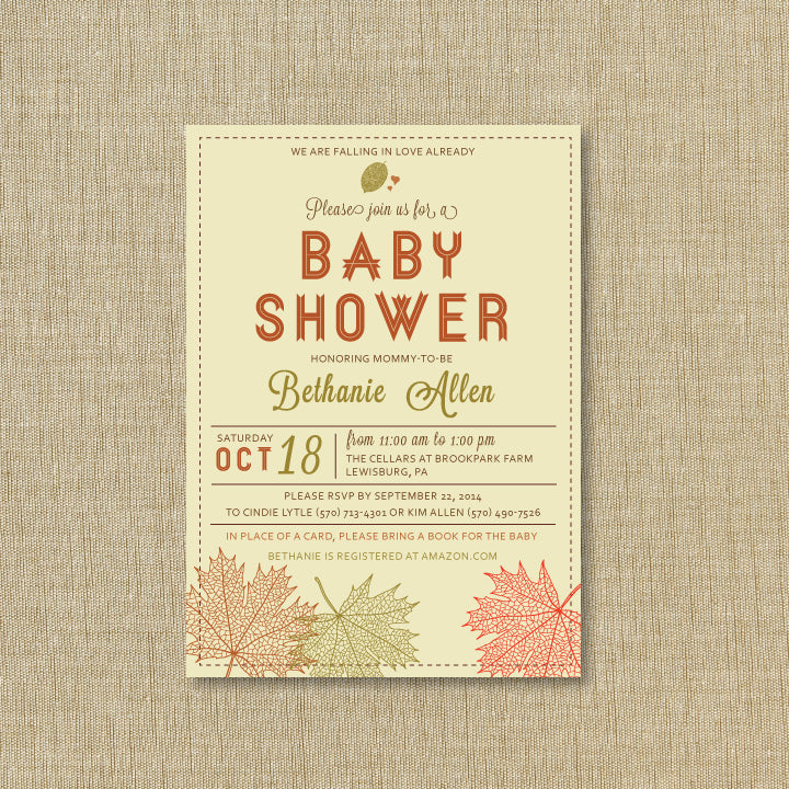 Fall Leaves Baby Shower Invitation