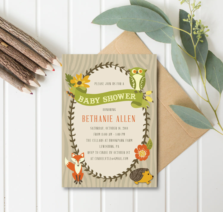 Rustic Woodland Baby Shower Invitation