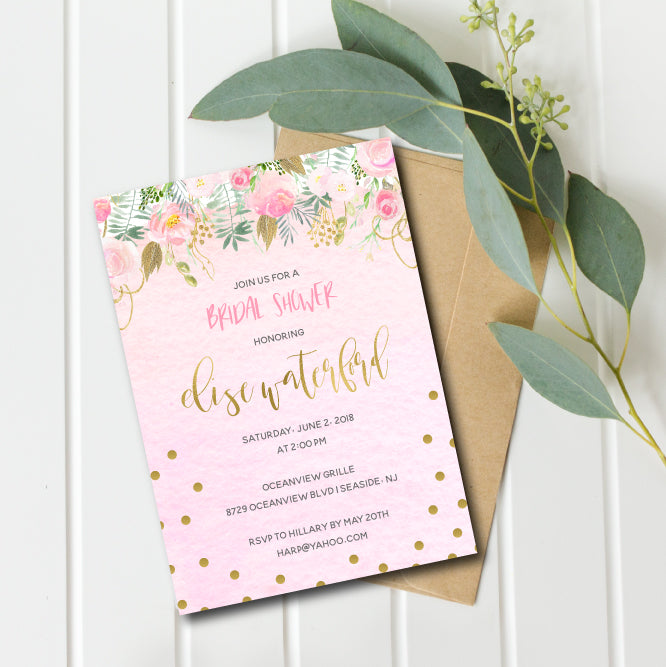 Blush and Gold Watercolor Bridal Shower Invitation