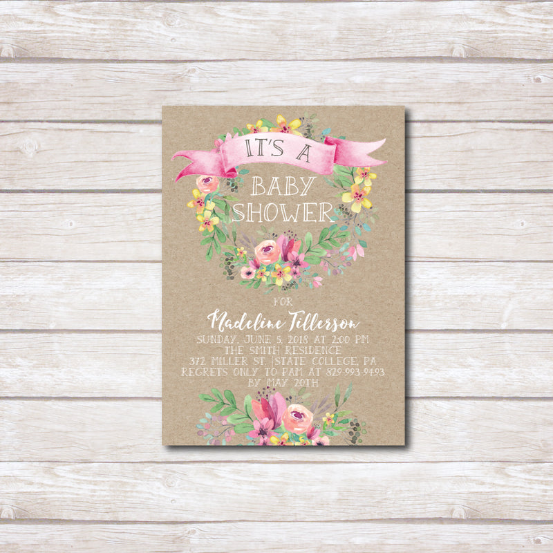 Pink Watercolor Banner Rustic Baby Shower Invitation