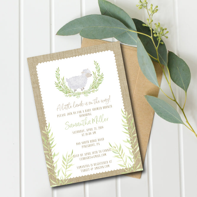 Little Lamb Baby Shower Invitation Gender Neutral