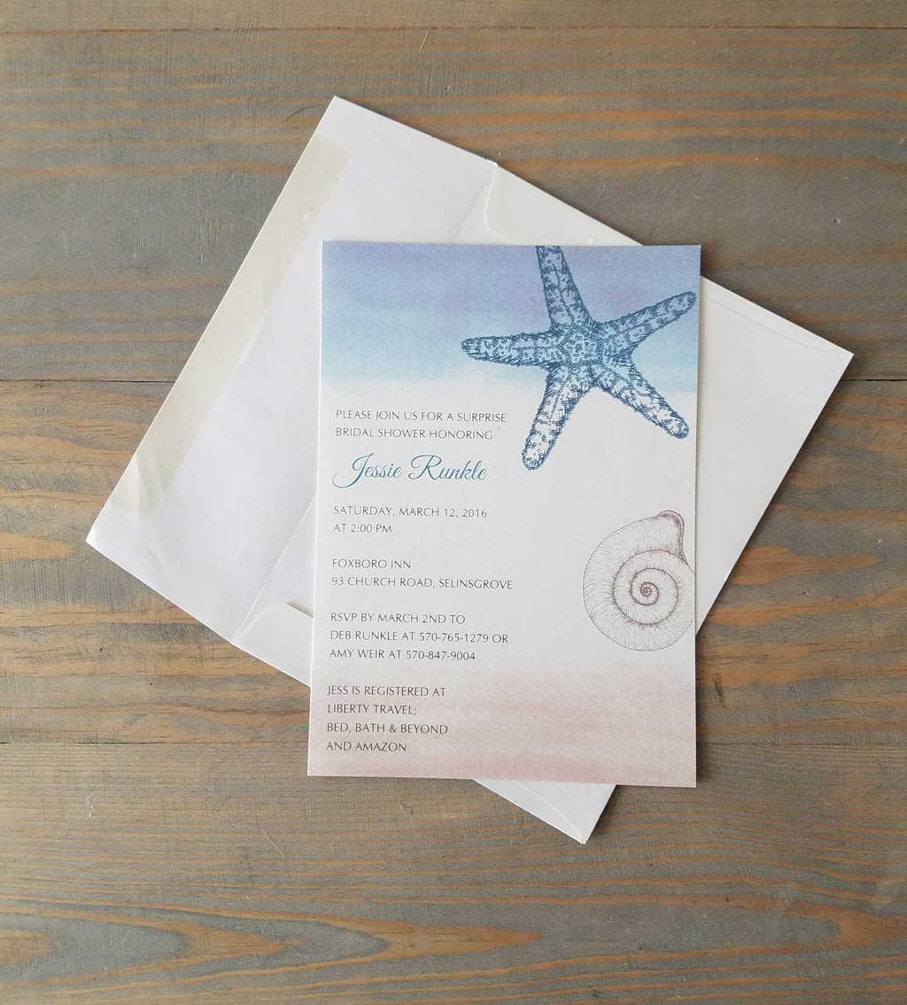 Seashell, Beach Theme Bridal Shower Invitation