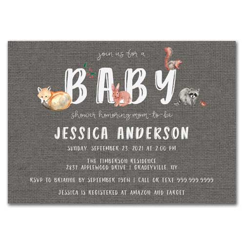 Baby Forest Animals Baby Shower Invitation