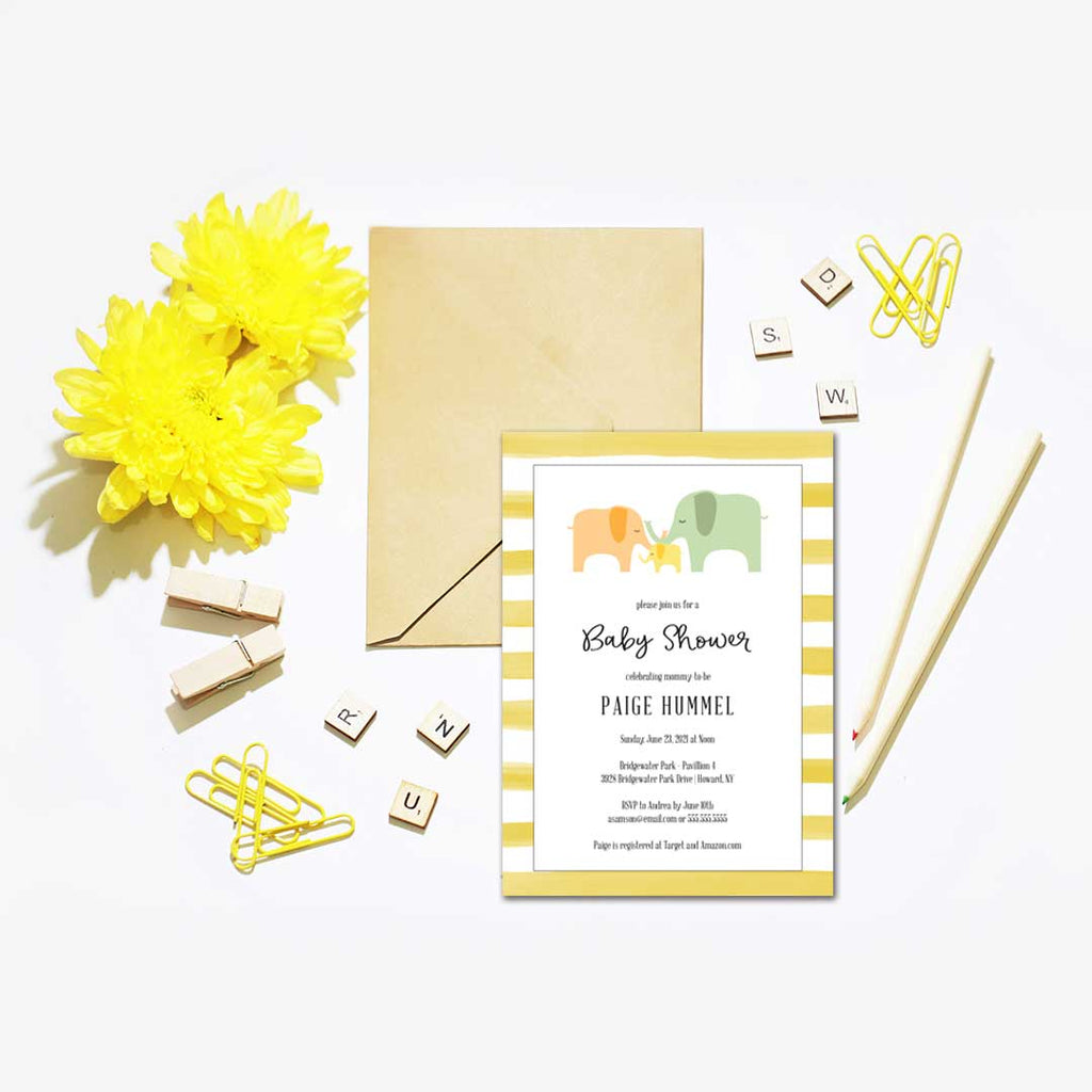 Watercolor Stripes Baby Elephant Baby Shower Invitation