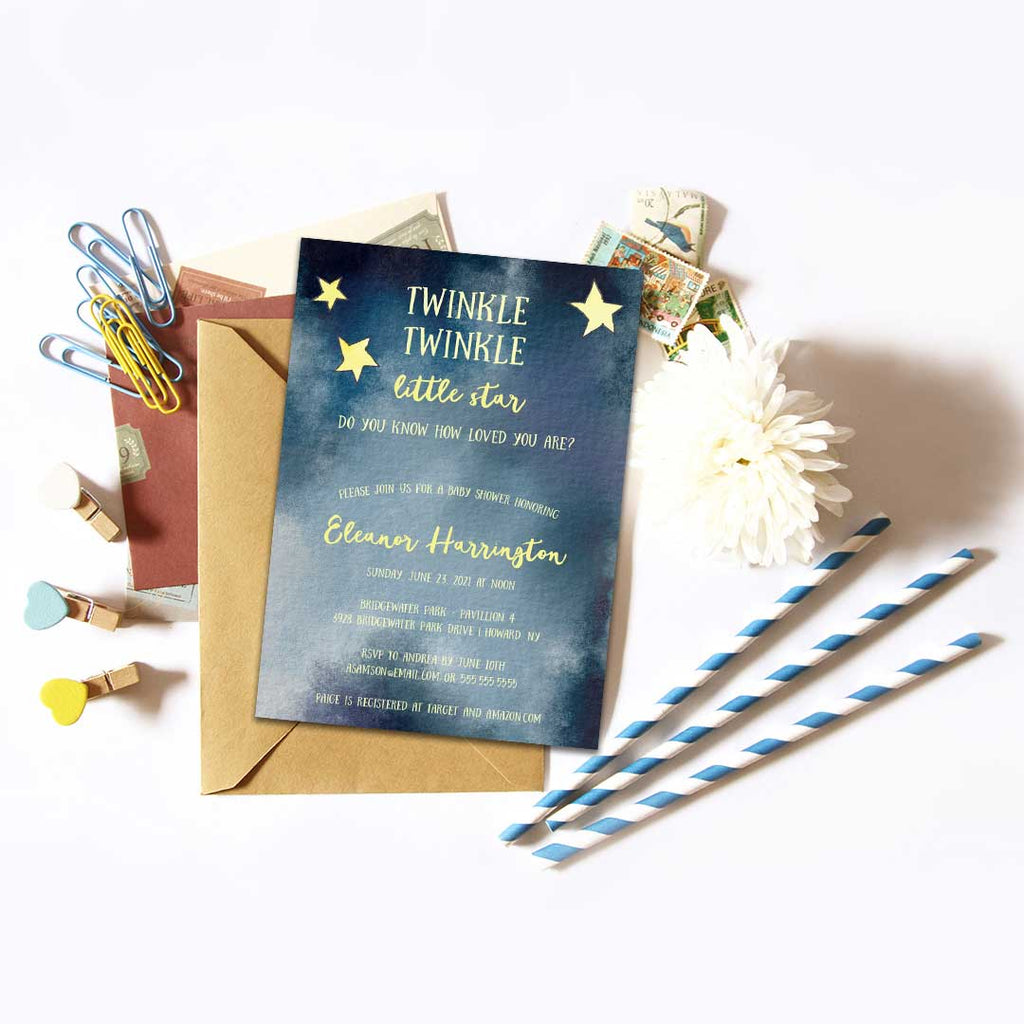 Twinkle, Twinkle Little Star Baby Shower Invitation