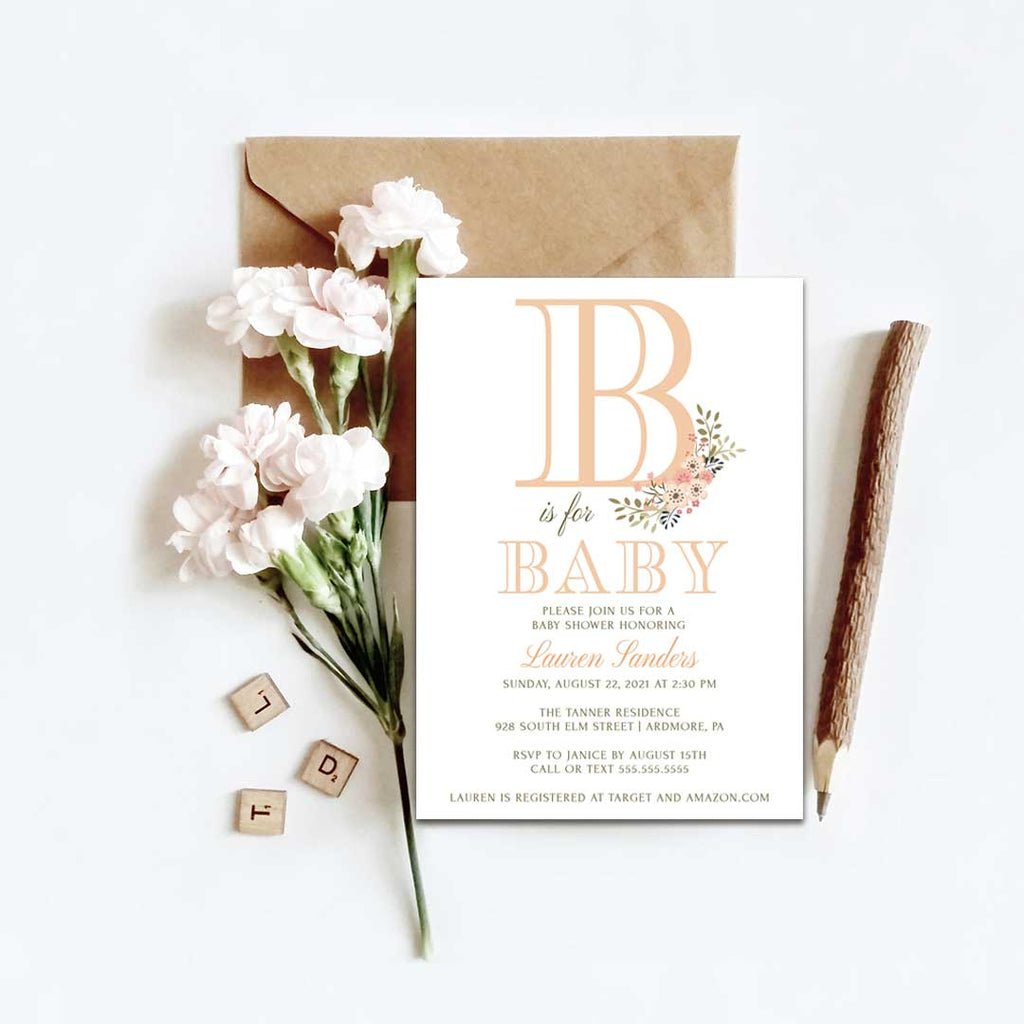 B is for Baby- Baby Shower Invitation