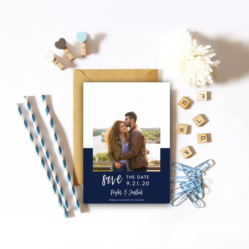 Color block Save the Date Photo Card