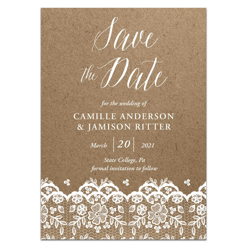 Kraft and Lace Save the Date Photo Card