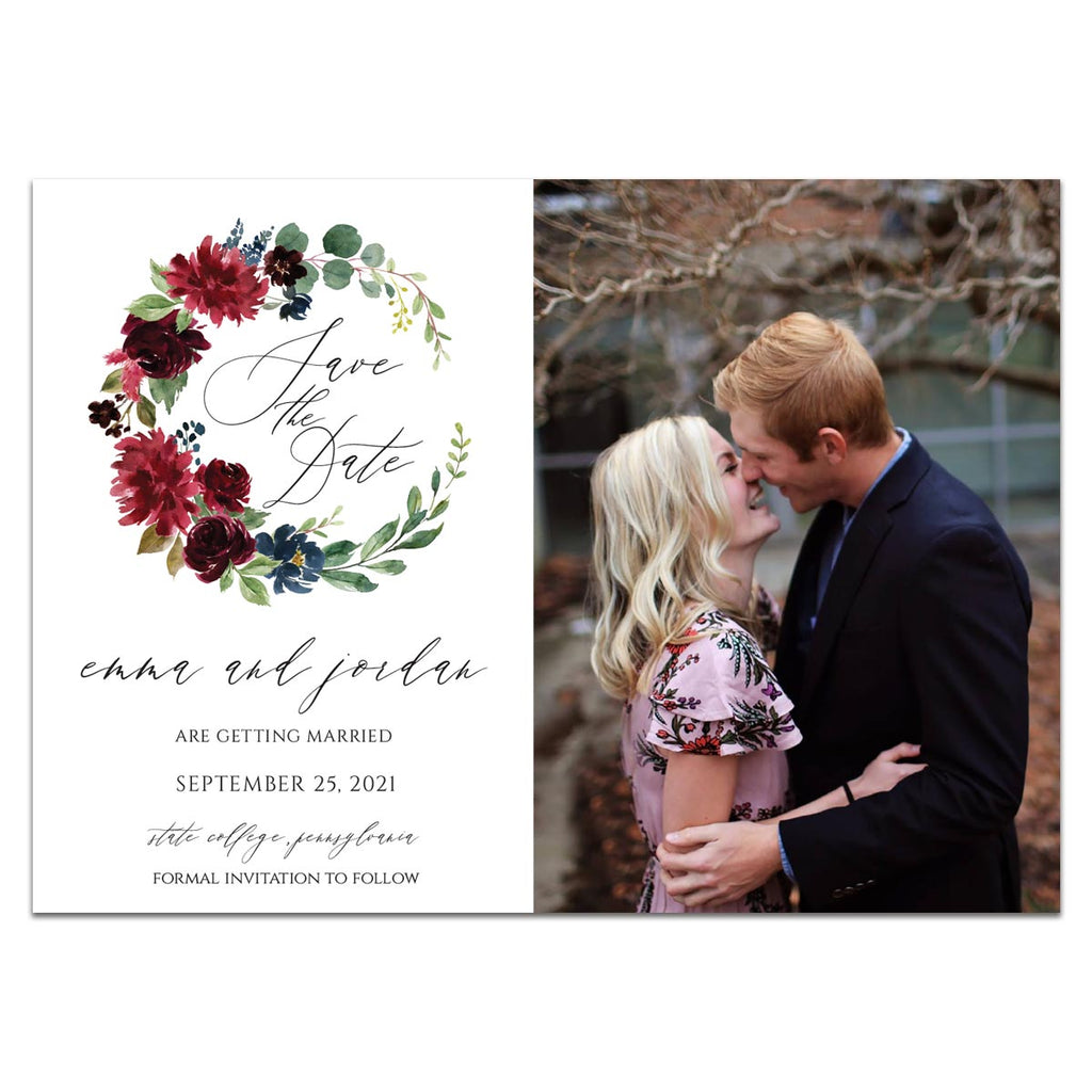Burgundy Wreath Save the Date Photo Card