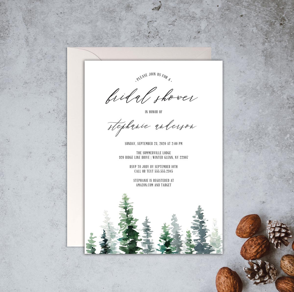 Rustic Woodland Bridal Shower Invitation