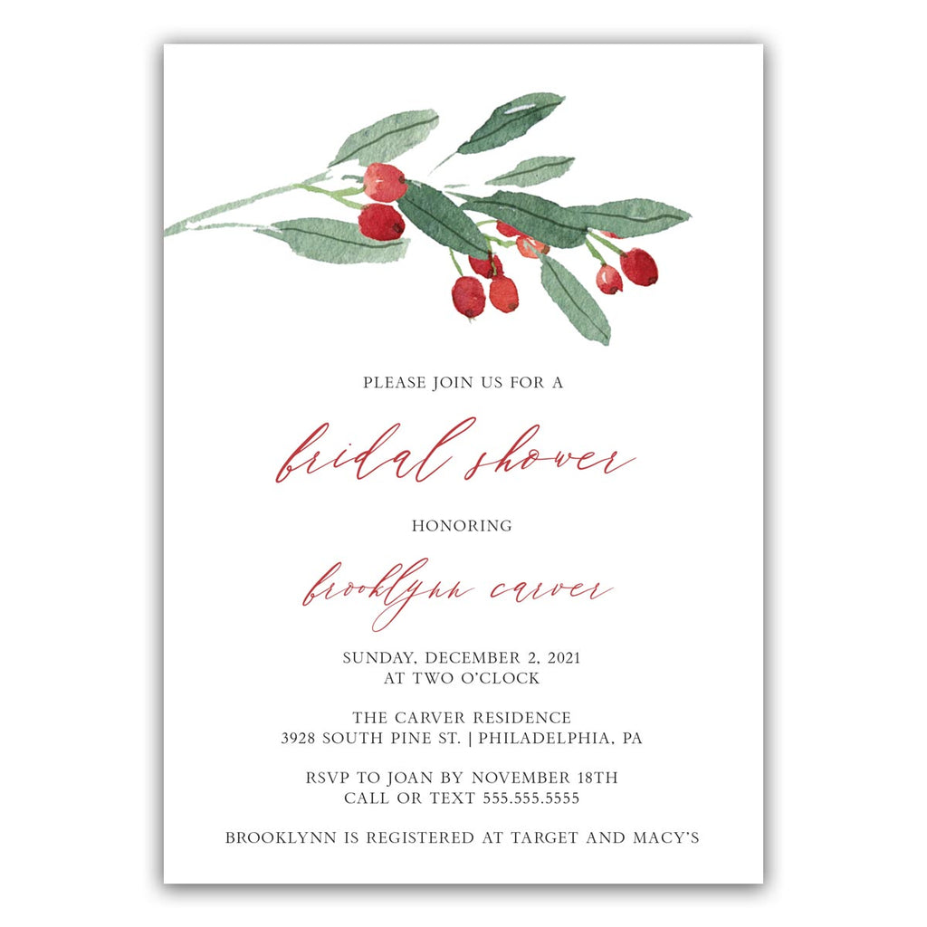 Winter Mistletoe Bridal Shower Invitation