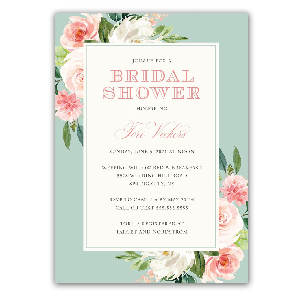 Minty Boho Bridal Shower Invitation