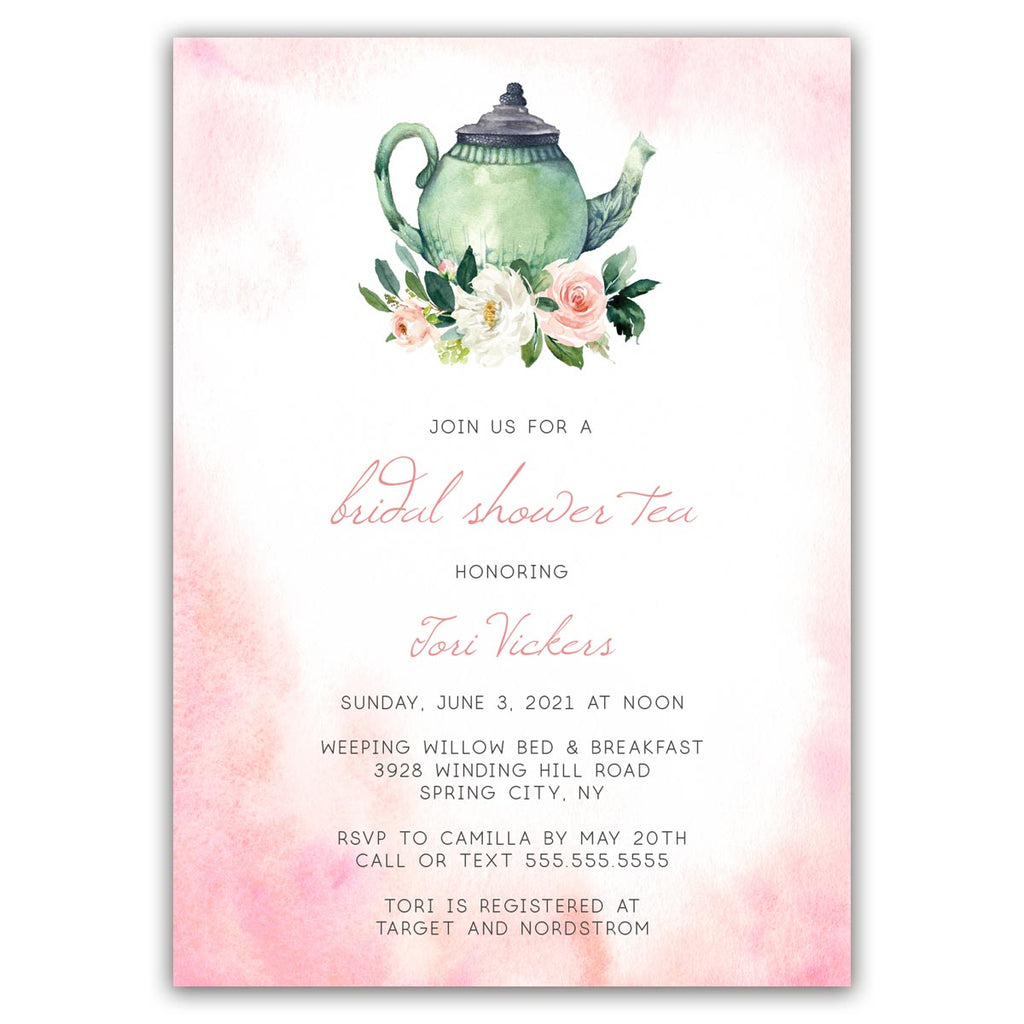 Blush Boho Tea Party Bridal Shower Invitation
