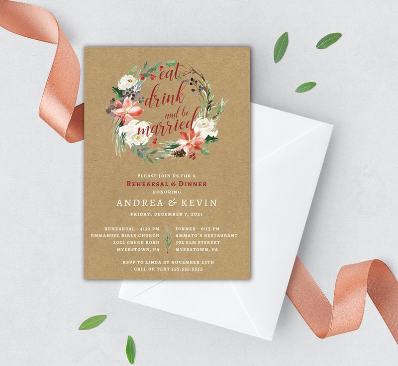 Rustic Winter Wreath Rehearsal Dinner Invitation
