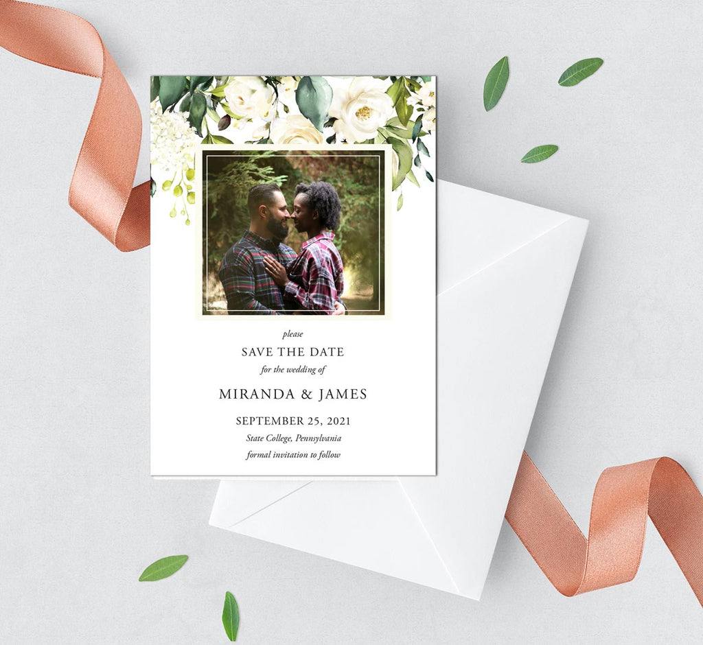 Neutral Roses Save the Date Card