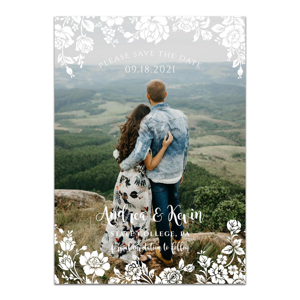 A Rosey Day Photo Save the Date Card