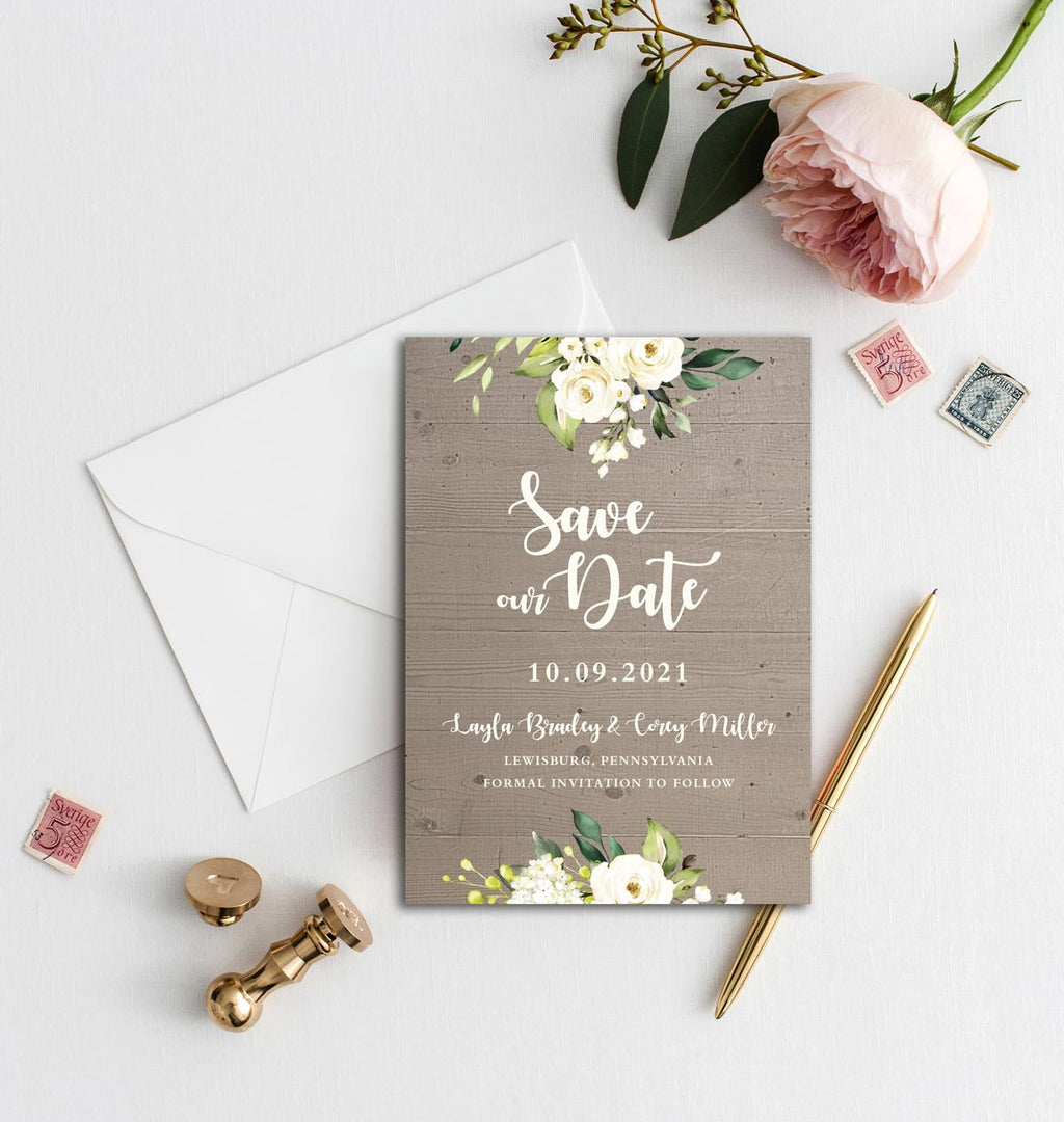 Rustic Ivory Roses Save the Date Card