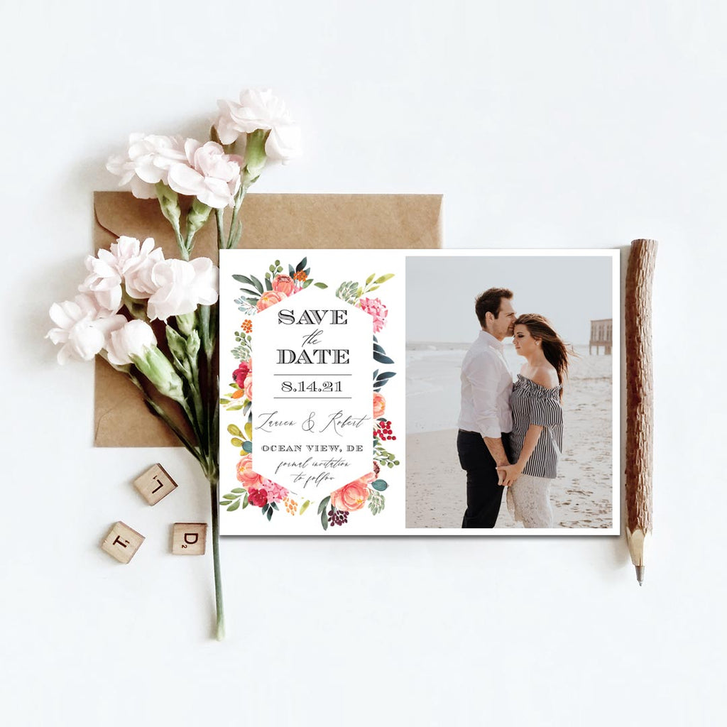 Summer Bouquet Photo Save the Date Card